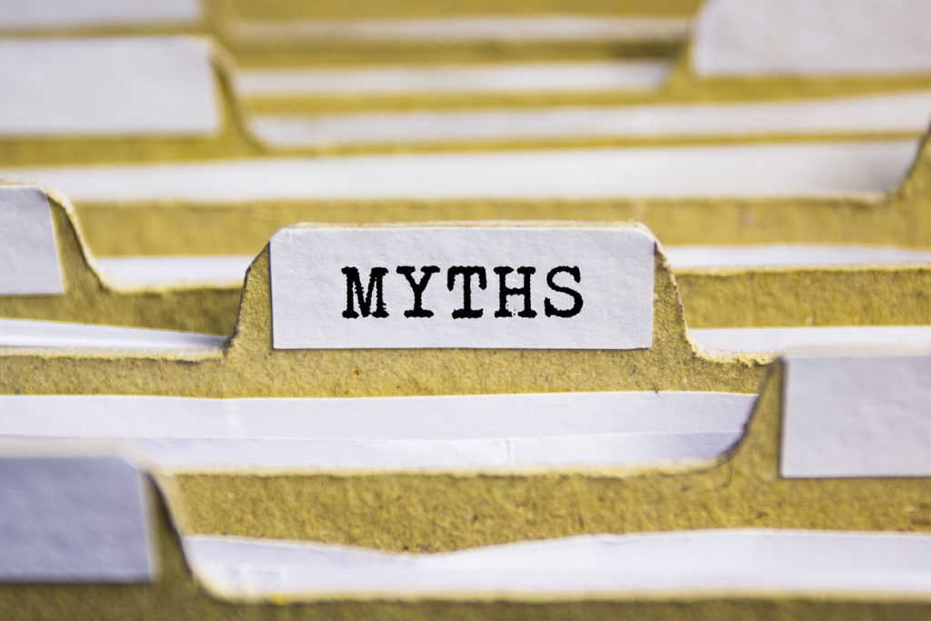 the word myths typed onto a card index paper