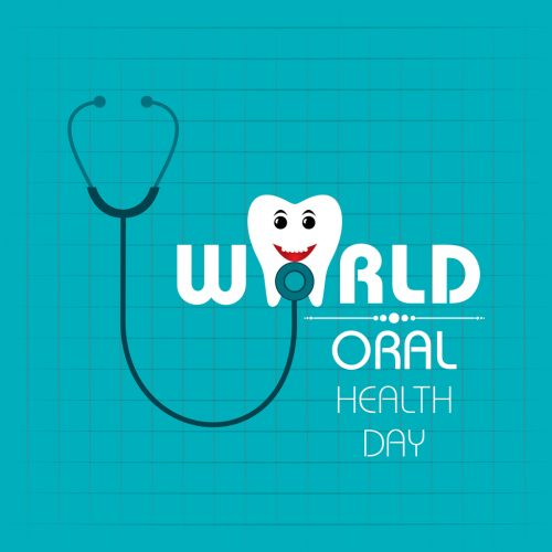A cartoon drawing of a tooth getting a health check with the text World Oral Health Day