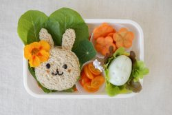 a lunch box containing cut up bread, carrots, salad and eggs into easter-themed shapes