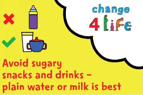 A change 4 life national smile month image that states kids should avoid sugary snacks and drinks - plain water or milk is the best