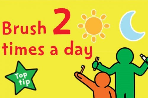 a change 4 life national smile month image that states children should brush 2 times a day