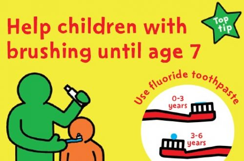 a change 4 life national smile month image that states you should 'help children with brushing until age 7, and use fluoride toothpaste